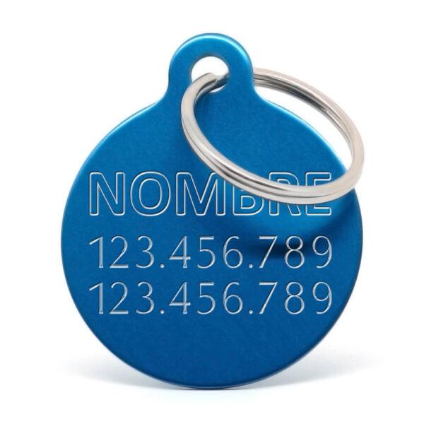 Placa para perro personalizada azul