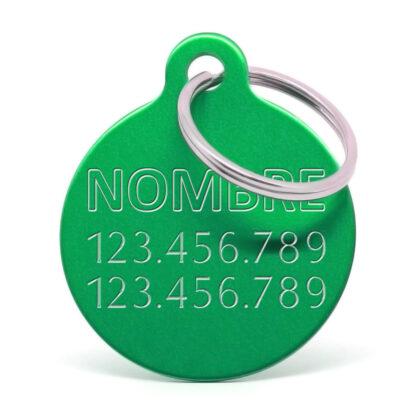 Placa para perro personalizada verde