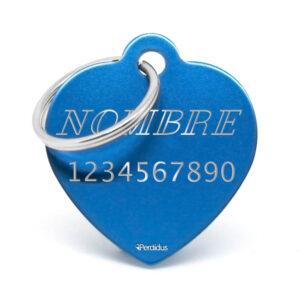 Anverso placa para perro corazón aluminio azul