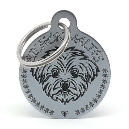 Placa para perro raza Bichón Maltés