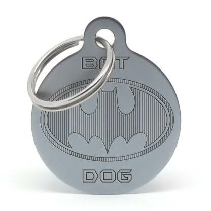 Chapa para perro Batdog gris