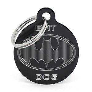 Chapa para perro Batdog negra