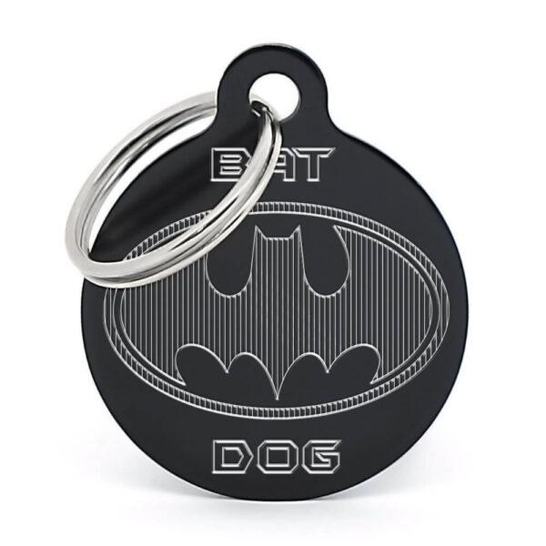 Placa para perro Batman negra