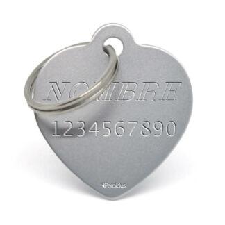 Anverso placa para perro corazón aluminio gris