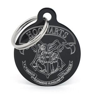 Chapa para perro Hogwarts negra