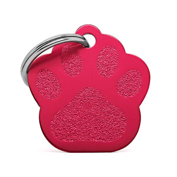 Anverso placa para perro huella aluminio rojo