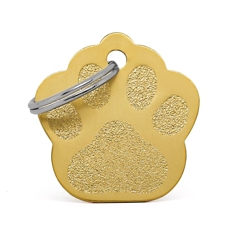 Anverso placa para perro huella aluminio dorado