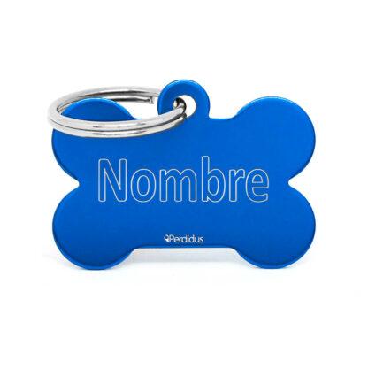 Anverso placa para perro hueso aluminio azul