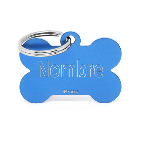 Anverso placa para perro hueso aluminio azul claro