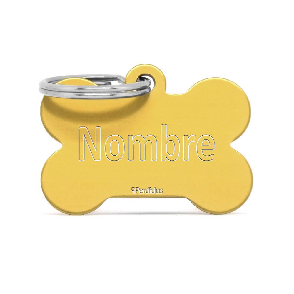 Anverso placa para perro hueso aluminio dorado