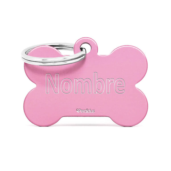 Anverso placa para perro hueso aluminio rosa