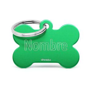 Anverso placa para perro hueso aluminio verde
