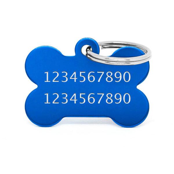 Reverso placa para perro hueso aluminio azul