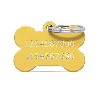 Reverso placa para perro hueso aluminio dorado