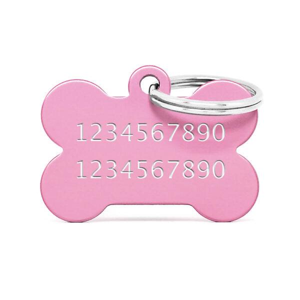 Reverso placa para perro hueso aluminio rosa