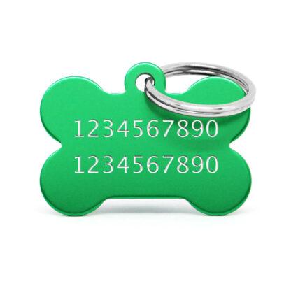 Reverso placa para perro hueso aluminio verde