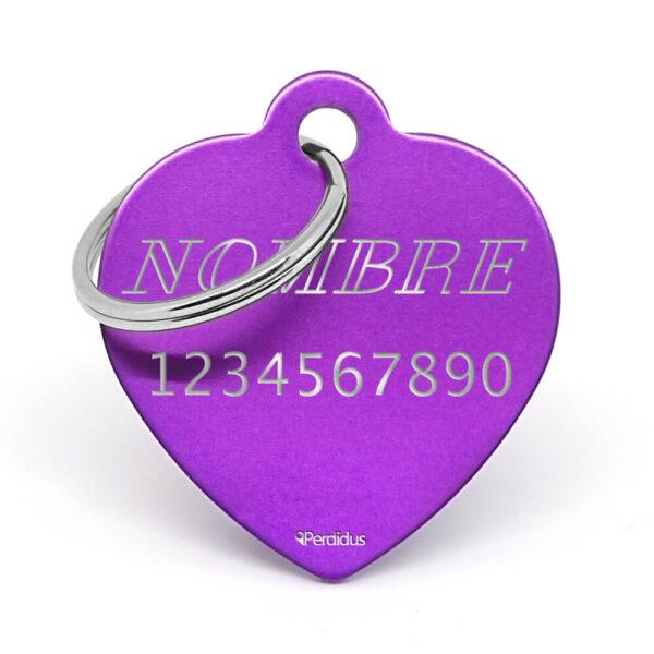 Anverso placa para perro corazón aluminio lila
