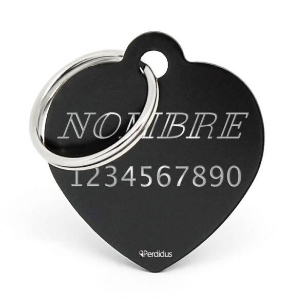 Anverso placa para perro corazón aluminio negro