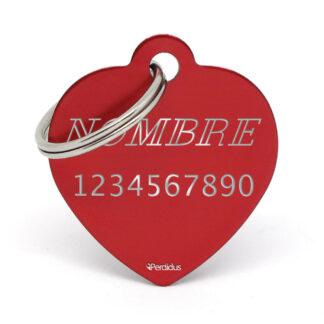 Anverso placa para perro corazón aluminio rojo