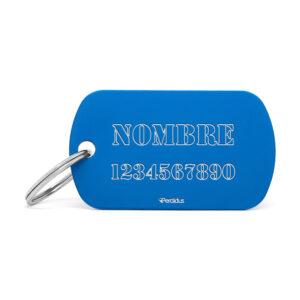Placa identificativa militar azul