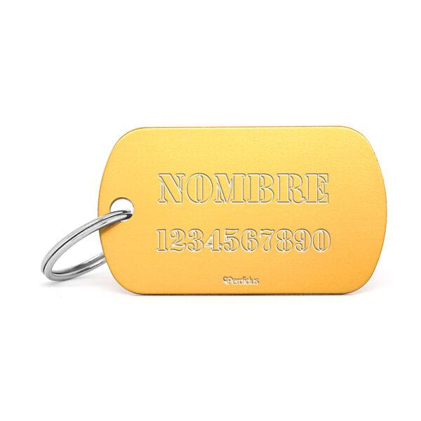Placa identificativa militar dorada
