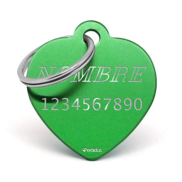 Anverso placa para perro corazón aluminio verde