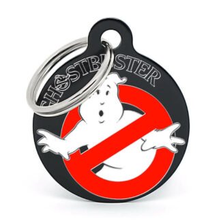 Placa para perro Ghostbusters negra pintada