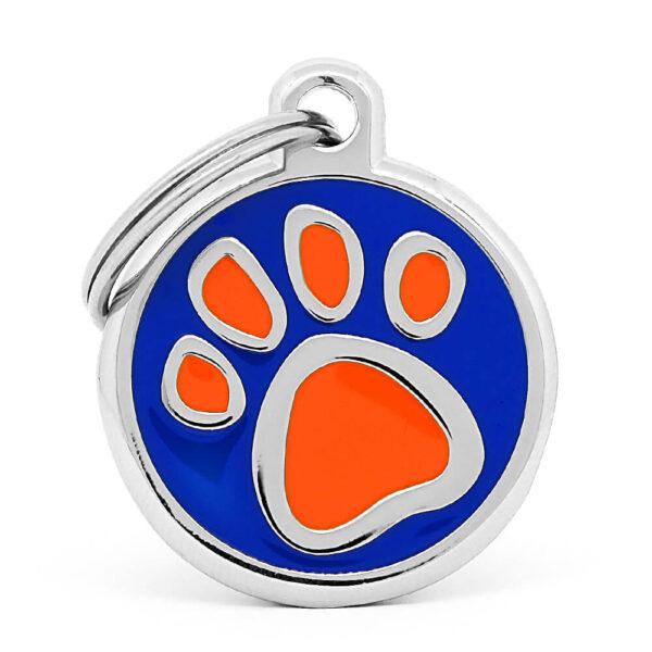 Placa para perro huella orange paw