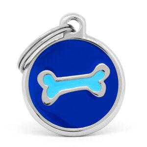 Placa para perro hueso celeste