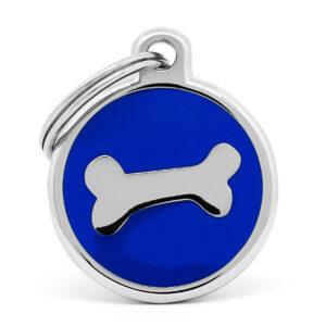 Placa para perro hueso blue chrome