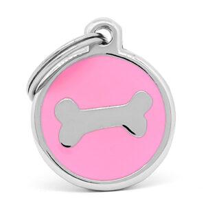 Placa para perro hueso pink chrome