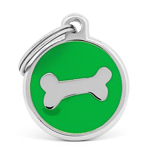 Placa para perro hueso green chrome