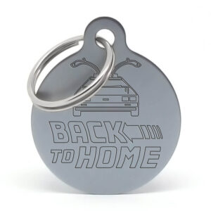 Placa para perro - Delorean Back to Home (gris)