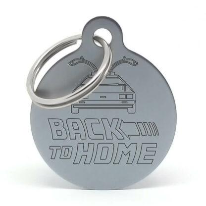 Placa para perro - Delorean Back to Home (gris)