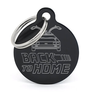 Placa para perro - Delorean Back to Home (negro)