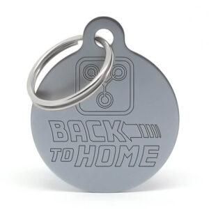 Placa para perro - 'Fluzo' Back to Home (gris)