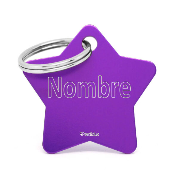 Placa para gato - Star (lila)