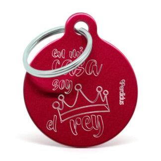 Placa para perro - En mi casa soy el rey (rojo)
