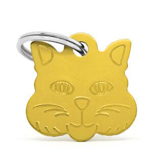 Placa identificativa gato dorada