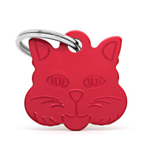 Placa para gato - Cat Face (roja)