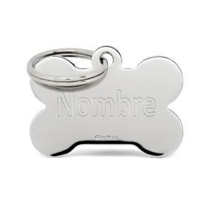 Placa para perro silver bone