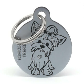 Placa raza perro - Yorkshire con lazo