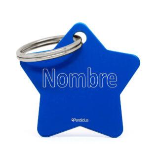 Placa para perro - Estrella azul