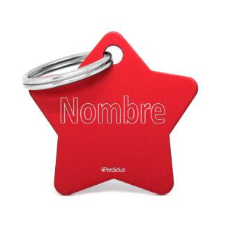 Placa para perro - Estrella roja