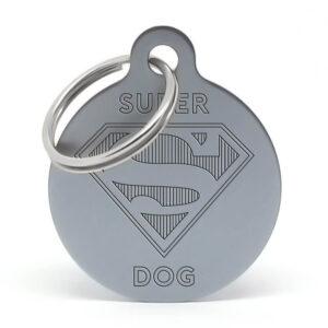 Placa para perro - Superdog (gris)