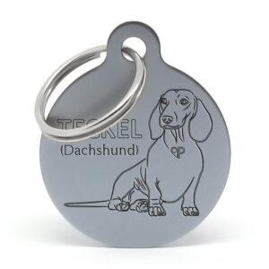 Placa para perro - Teckel (Dachshund) sentado
