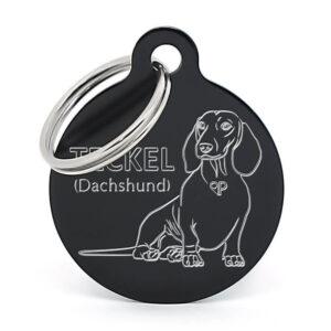 Placa para perro - Teckel (Dachshund) sentado (negro)